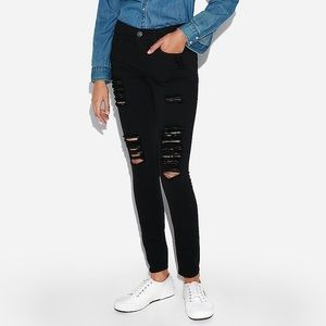 Express Ripped Black Mid Rise Jeans - 4R